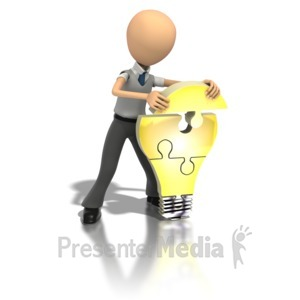 ID# 1209 - Idea Light Bulb Puzzle  - Presentation Clipart