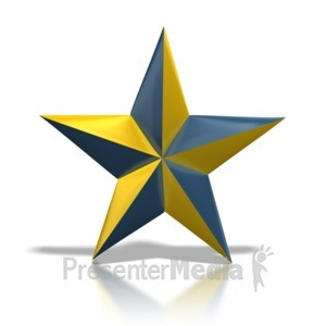 ID# 1229 - Blue and Gold Star - Presentation Clipart