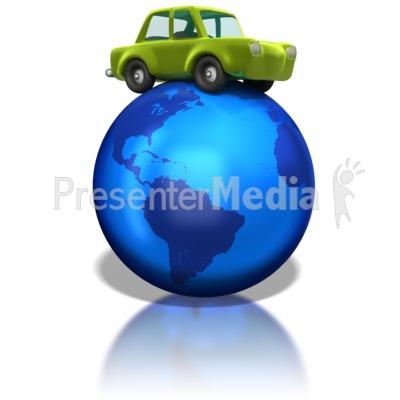 Green Car on Earth PowerPoint Clip Art