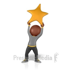 ID# 1239 - Holding Golden Star - Presentation Clipart