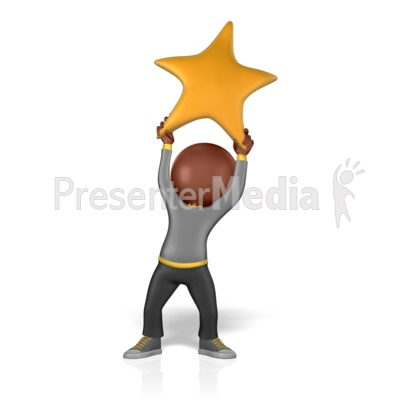 Holding Golden Star PowerPoint Clip Art
