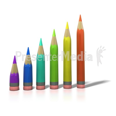 Color Pencil Bar Graph PowerPoint Clip Art