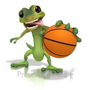 ID# 1258 - Gecko Basketball  - Presentation Clipart