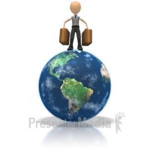 ID# 1265 - Tourist On Globe  - Presentation Clipart
