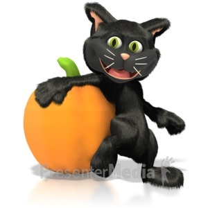 ID# 1269 - Cat Leaning On Pumpkin  - Presentation Clipart