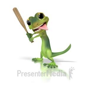 ID# 1271 - Gecko Baseball - Presentation Clipart