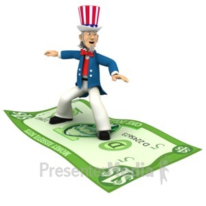 ID# 1278 - Uncle Sam Standing Riding Money  - Presentation Clipart