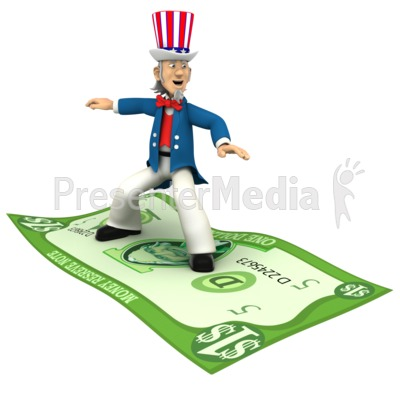 Uncle Sam Standing Riding Money  PowerPoint Clip Art