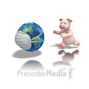 ID# 1285 - Pig Chasing World With Mask - Presentation Clipart