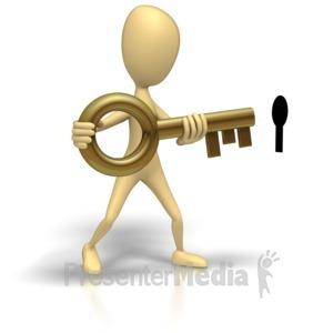 ID# 1287 - Stick Figure Insert Key Black Hole - Presentation Clipart