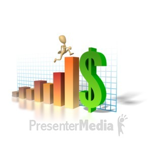 ID# 1293 - Graph Money Man Running Up - Presentation Clipart