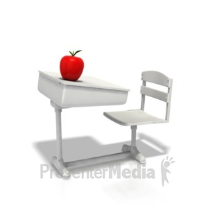 ID# 1308 - School Desk With Apple - Presentation Clipart