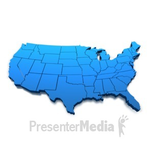 ID# 1337 - United States Blue Map Outline - Presentation Clipart