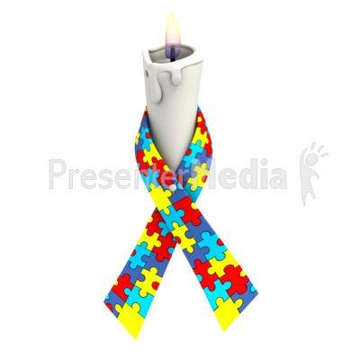 Autism Ribbon Candle PowerPoint Clip Art