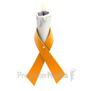 ID# 1366 - Orange Ribbon Candle - Presentation Clipart