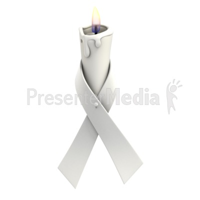 White Ribbon Candle PowerPoint Clip Art