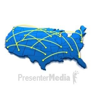 ID# 1379 - United States Networking Lines - Presentation Clipart
