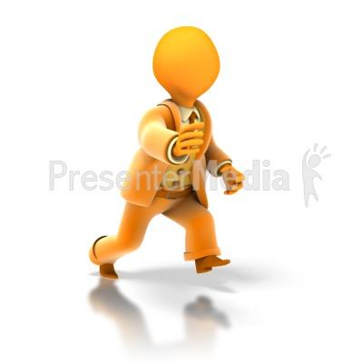 Business Stick Figure Run PowerPoint Clip Art