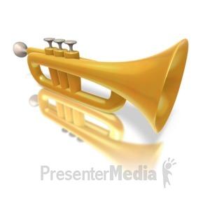ID# 1403 - Golden Trumpet - Presentation Clipart