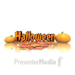 ID# 1404 - Halloween Pumpkins Text - Presentation Clipart
