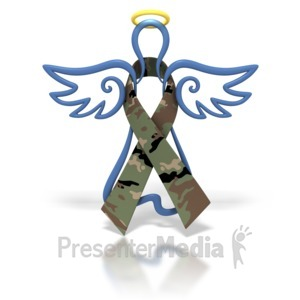 ID# 1426 - Angel Outline Army Camo Ribbon - Presentation Clipart