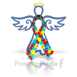 ID# 1427 - Angel Outline Autism Ribbon - Presentation Clipart