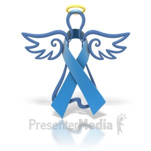 ID# 1429 - Angel Outline Blue Ribbon - Presentation Clipart
