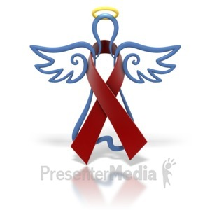 ID# 1430 - Angel Outline Burgundy Ribbon - Presentation Clipart