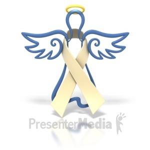 ID# 1431 - Angel Outline Cream Ribbon - Presentation Clipart
