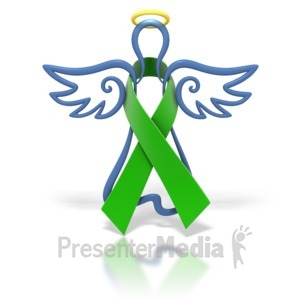 ID# 1432 - Angel Outline Green Ribbon - Presentation Clipart