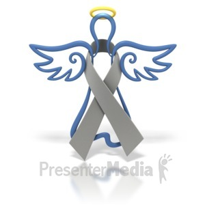ID# 1433 - Angel Outline Grey Ribbon - Presentation Clipart