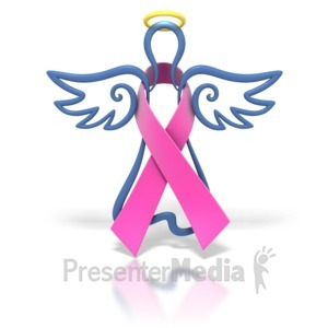 ID# 1435 - Angel Outline Hot Pink Ribbon - Presentation Clipart