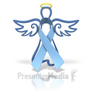 ID# 1436 - Angel Outline Light Blue Ribbon - Presentation Clipart