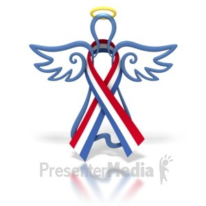 ID# 1446 - Angel Outline Red White Blue Ribbon - Presentation Clipart