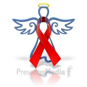 ID# 1447 - Angel Outline Red Ribbon - Presentation Clipart