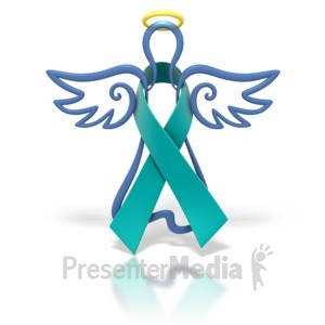 ID# 1448 - Angel Outline Teal Ribbon - Presentation Clipart
