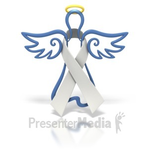 ID# 1449 - Angel Outline White Ribbon - Presentation Clipart