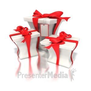 ID# 1452 - Red White Presents  - Presentation Clipart