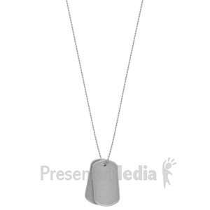 ID# 1453 - Military Dog Tags Hanging - Presentation Clipart