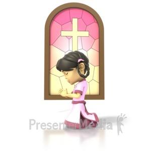 ID# 1472 - Girl Pray - Presentation Clipart