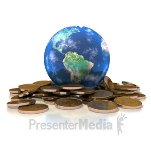 ID# 1480 - Earth Gold Coins - Presentation Clipart