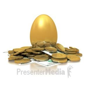 ID# 1484 - Golden Nest Egg - Presentation Clipart