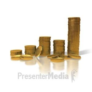 ID# 1486 - Gold Coin Graph - Presentation Clipart