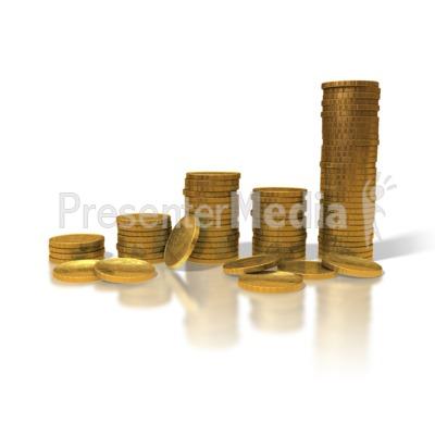 Gold Coin Graph PowerPoint Clip Art