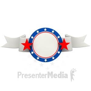 ID# 1495 - Patriotic Red White Blue Banner - Presentation Clipart