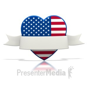 ID# 1497 - Patriotic Heart Banner - Presentation Clipart