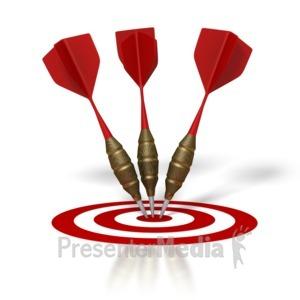 ID# 1504 - Three Darts Hit Target - Presentation Clipart