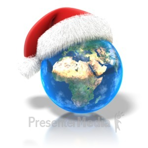 ID# 1507 - Santa Hat Earth - Presentation Clipart