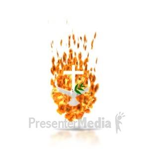ID# 1532 - Pentecost Dove Fire  - Presentation Clipart