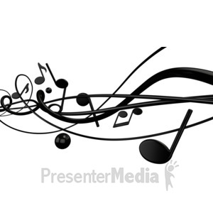 ID# 1535 - Music With Random Notes Lines - Presentation Clipart
